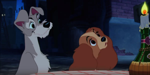 Disney's Lady and The Tramp waiting for their spaghetti dinner at Tony's restaurant., movies