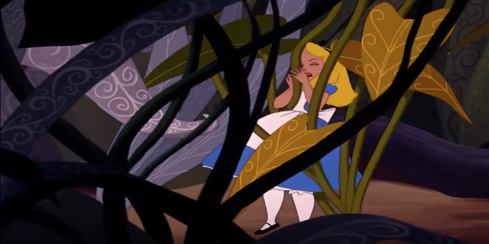 Alice from Disney's Alice in Wonderland running into an enlarged plant in Wonderland., movies