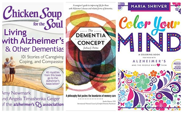 Collage of books about dementia and alzheimer's