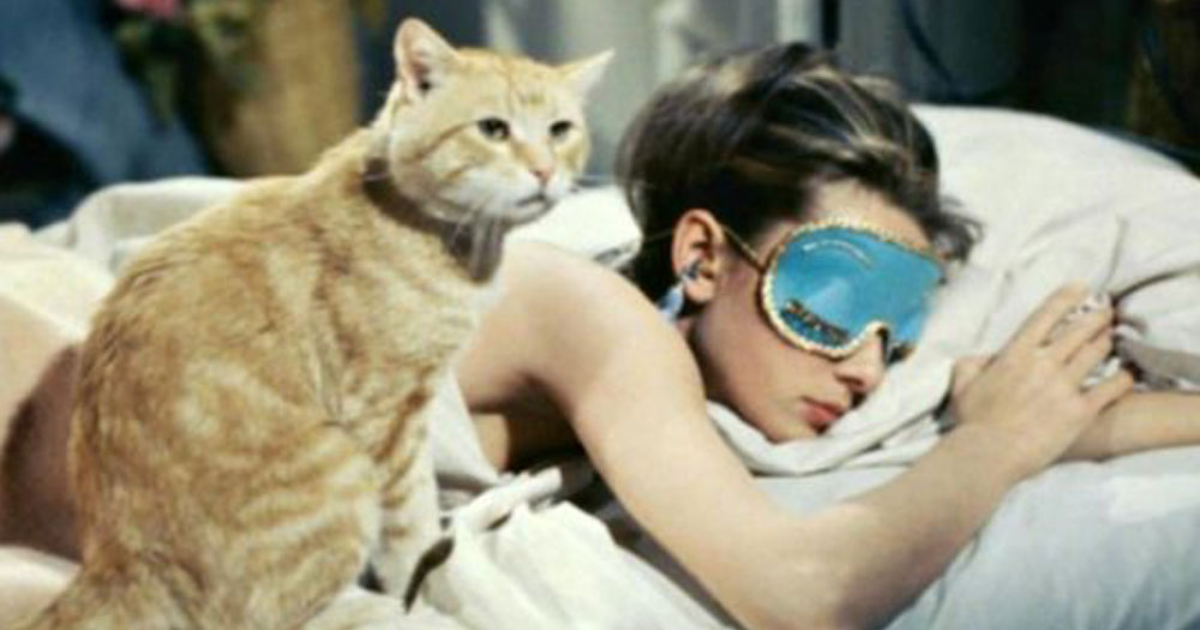 Holly Golightly sleeping with her orange tabby cat sitting next to her
