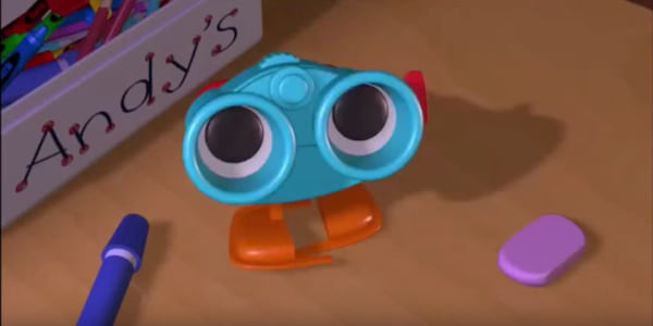 Lenny the binoculars from Pixar's Toy Story looks up from Andy's desk, movies