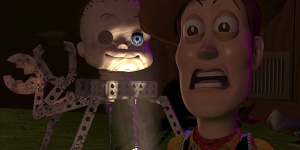 Babyface and Woody from Pixar's Toy Story meeting in Sid's room., movies