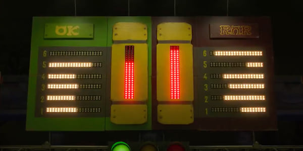 The Scare Games leaderboard lit up from Pixar's Monsters University, movies