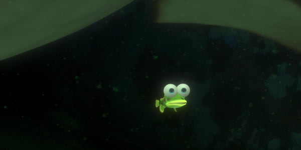 The small, scared, neon green fish hides under Bruce's fin from Pixar's Finding Nemo., movies