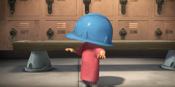 Boo from Pixar's Monsters Inc walks around with a blue construction helmet on her head., movies