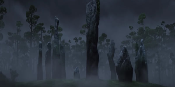 The circle of stones in Pixar's Brave in the mist and darkness of the forest., movies
