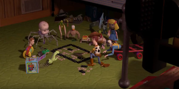 Woody and Sid's toys from Pixar's Toy Story 1 plan an escape route using dominos., movies