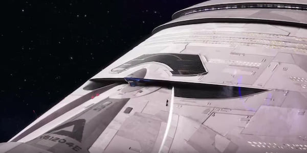 The grey exterior of the spaceship floating in space from Pixar's WALL-E., movies