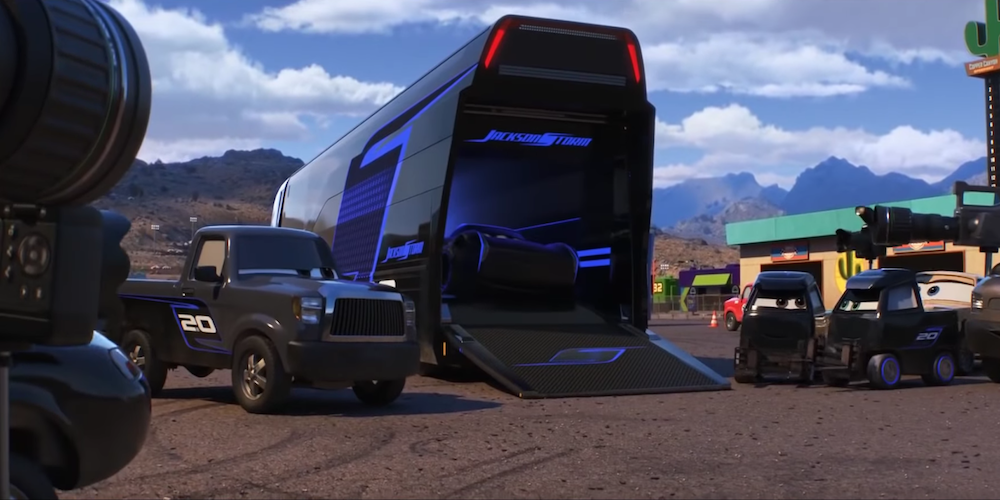 Storm Jackson from Pixar's Cars 3 gets into his fancy black and purple trailer truck., movies