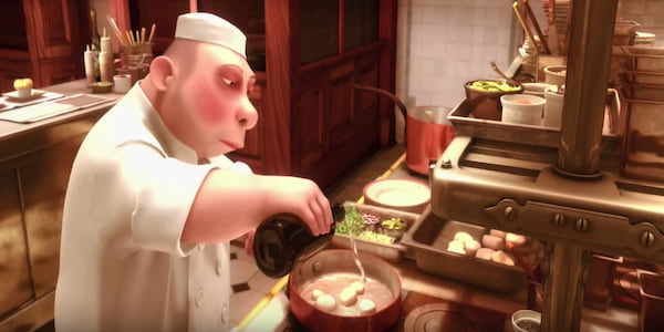 A chef from Gusteau's French kitchen from Pixar's Ratatouille sears some scallops in a pan., movies
