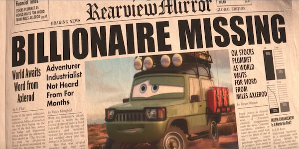 Newspaper clipping from Pixar's Cars 2 depicting a missing billionaire car celebrity., movies