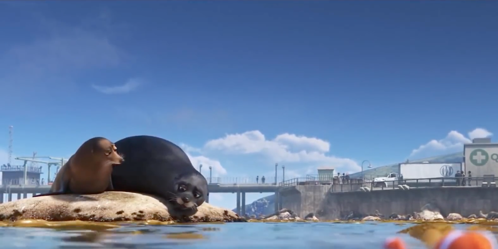 The seals from Pixar's Finding Dory sit on a rock and talk to each other., movies