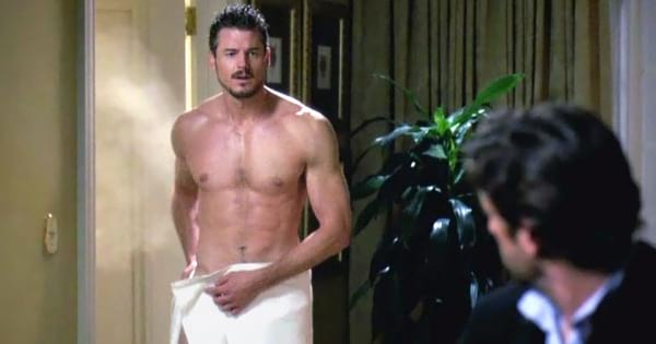 Mark Sloan Shirtless Walking Out Of Shower While Derek Shepherd Waits Grey's Anatomy