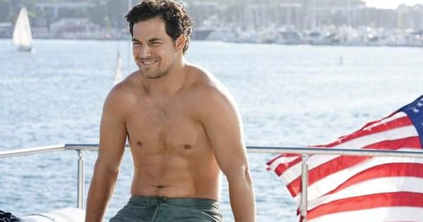 Andrew DeLuca Shirtless On Yacht Sitting Grey's Anatomy Season 14
