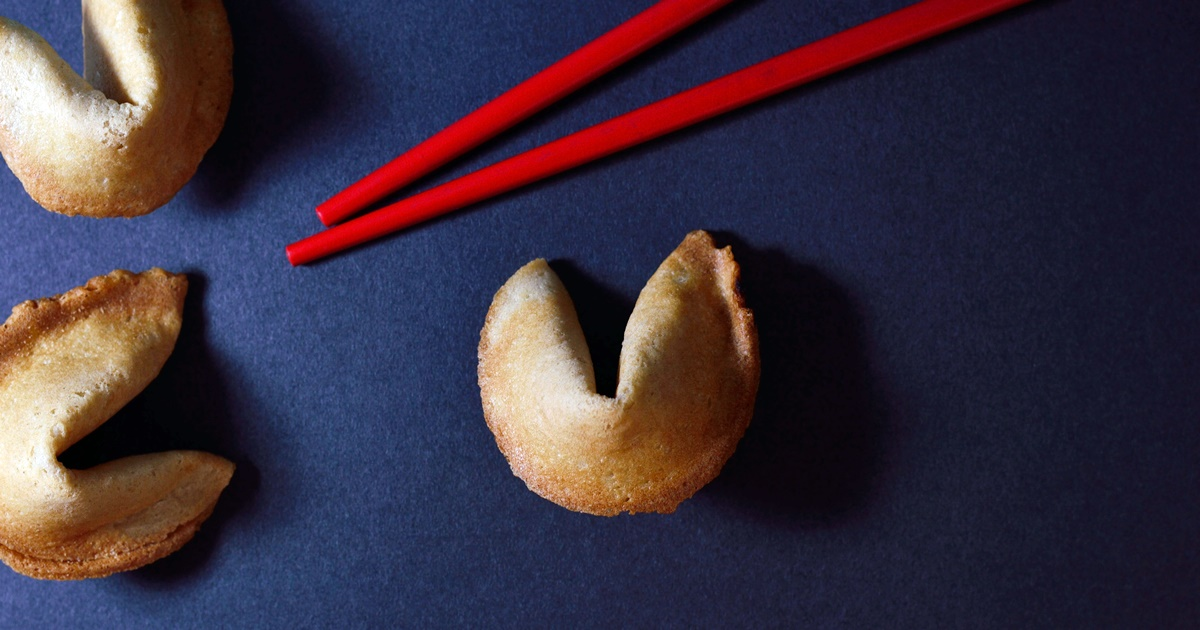 Three fortune cookies and a pair of chopsticks, fortune cookie Instagram captions, culture, food & drinks