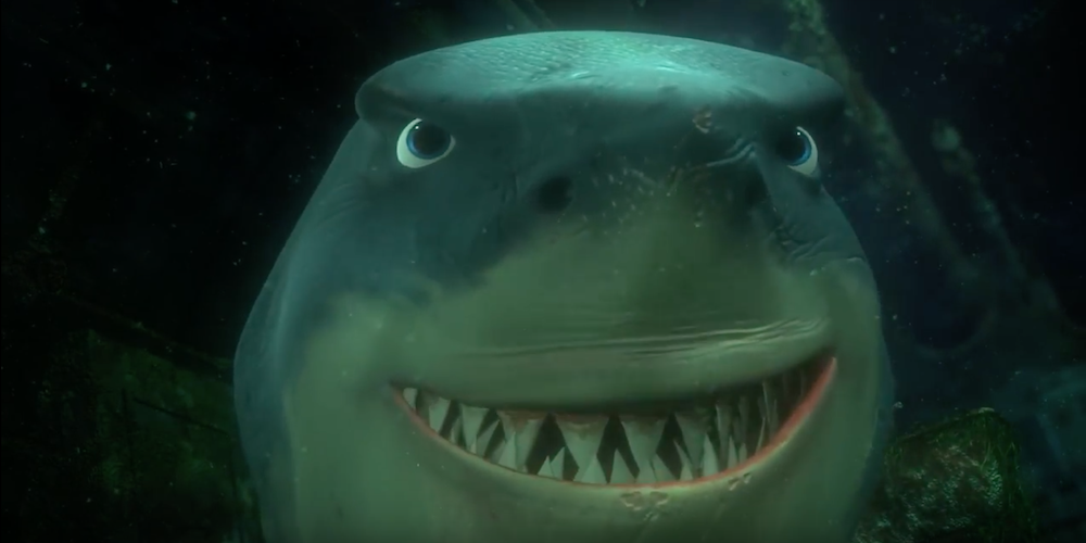 Bruce the shark from Pixar's Finding Nemo smiling with his teeth showing., movies