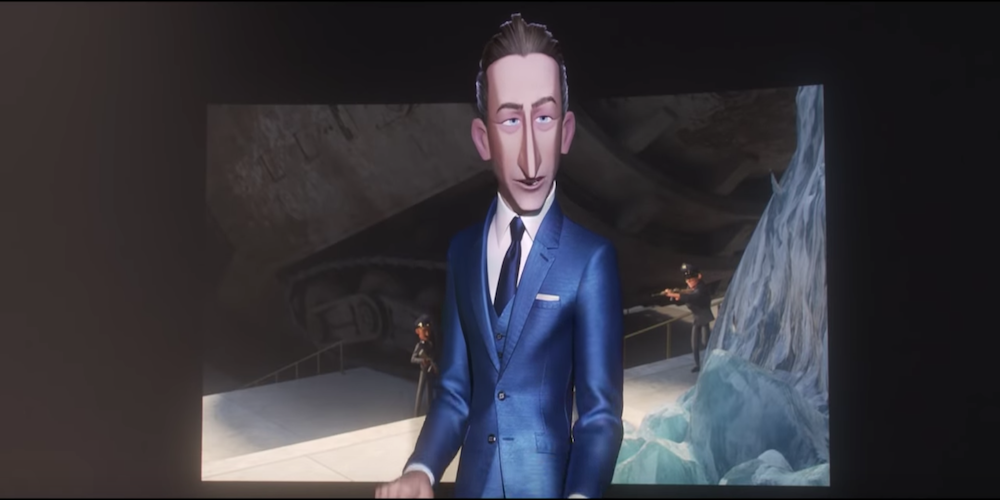 Mr. Deavor from Pixar's Incredibles 2 stands in front of a television wearing a blue suit., movies
