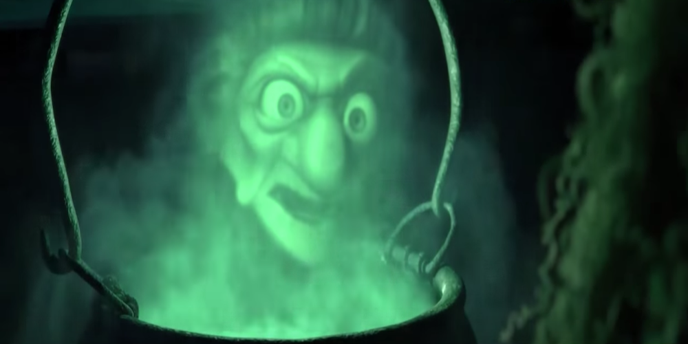 The witch from Pixar's Brave talks to Merida through a cauldron., movies