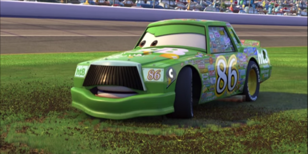 Chick Hicks from Pixar's Cars looking angrily off to the side., movies