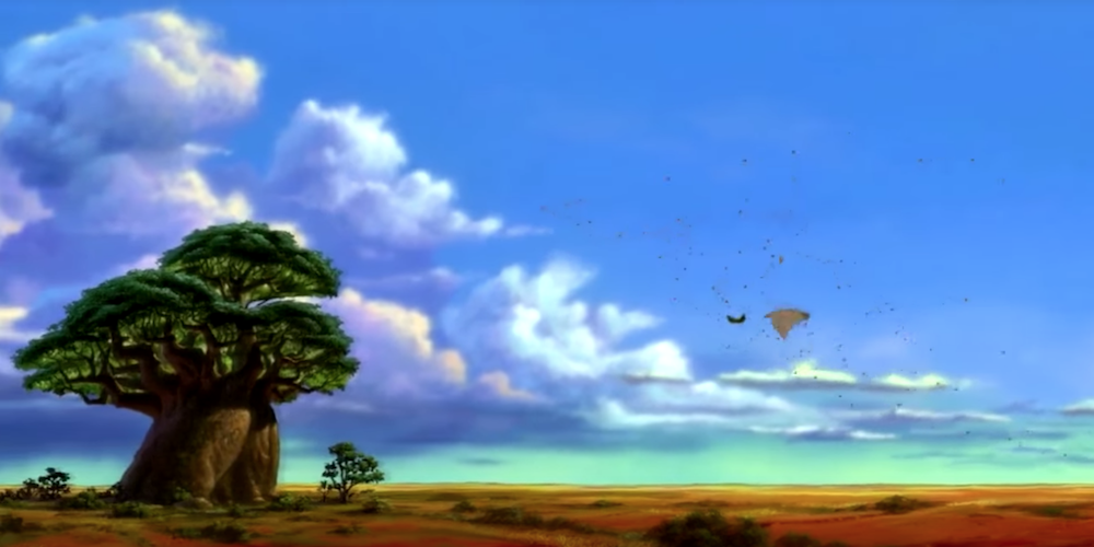 Rafiki's tree and Pridelands scenery from Disney's Lion King., movies