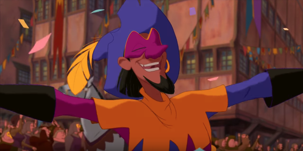 The Topsy Turvy jester from Disney's The Hunchback of Notre Dame smiles and spreads his arms., movies