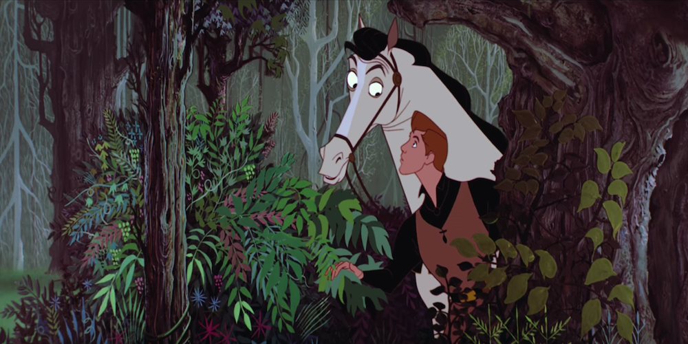 Prince Philip and his horse look at Aurora through the bushes in Disney's Sleeping Beauty., movies