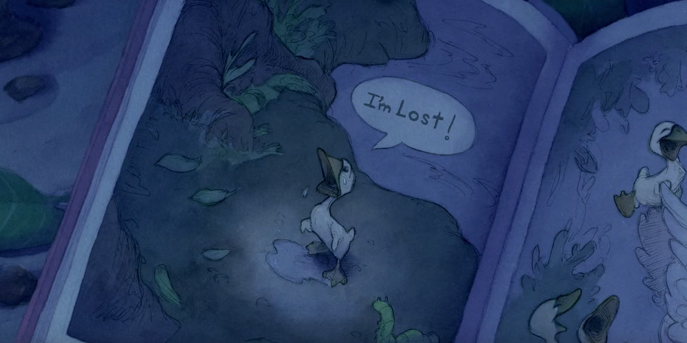 The Ugly Duckling book from Disney's Lilo and Stitch is opened up to a picture., movies