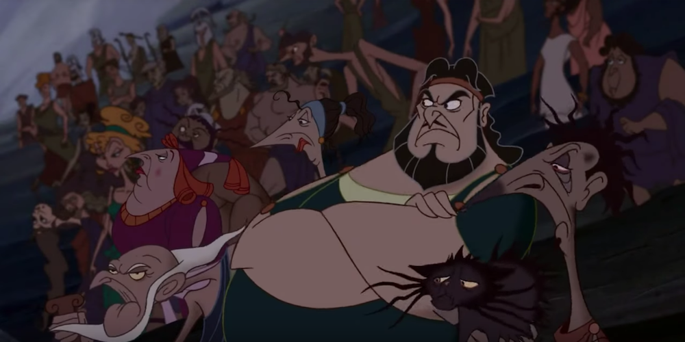 The residents of Thebes from Disney's Hercules scowl as they watch Hercules in the amphitheatre., movies