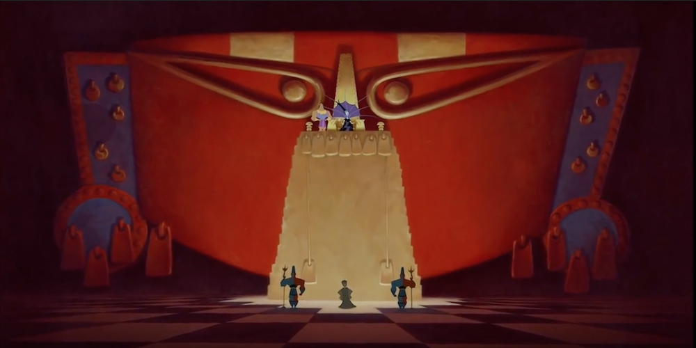 The grand throne room decked out in blue and red in Disney's Emperor's New Groove., movies