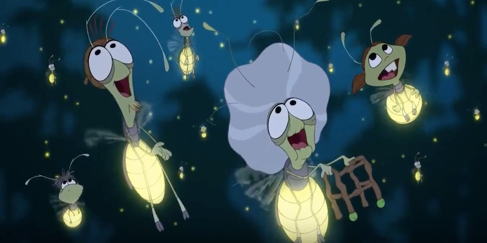 The fireflies from Disney's The Princess and The Frog look up in awe at the sky., movies