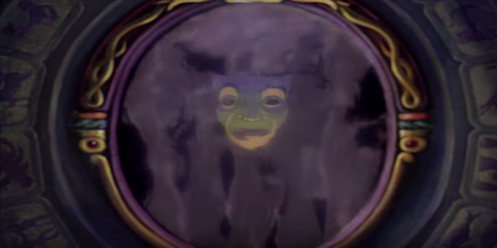 The Magic Mirror from Disney's Snow White begins to appear in smoke., movies