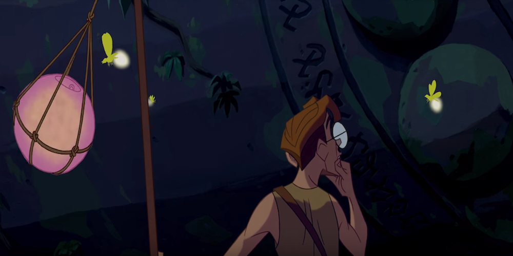 Milo from Disney's Atlantis The Lost Empire looks puzzled a runes that are carved into a large rock., movies