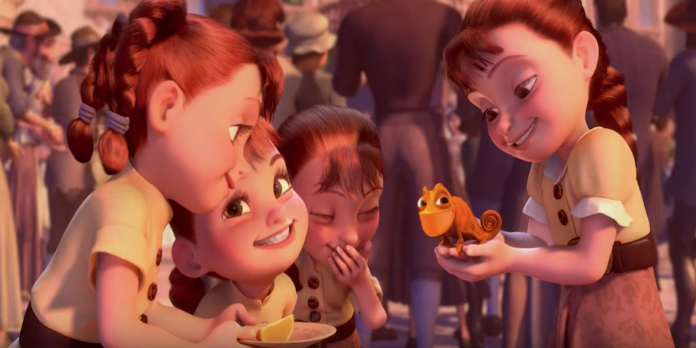Quadruplet girls from Disney's Tangled smile as they hold Pascal who has turned orange to match them., movies