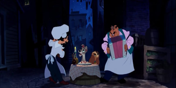 The chefs from Disney's Lady and The Tramp singing to the dogs eating spaghetti at the restaurant., movies