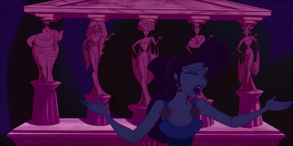 Meg from Disney's Hercules singing in front of the Muses who are standing as statues., movies