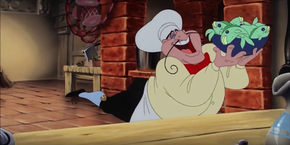 The chef from Disney's The Little Mermaid holding a bowl of fish in the air., movies