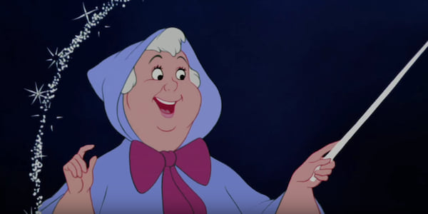 The Fairy Godmother from Disney's Cinderella waving her wand around in the air to make a carriage., movies