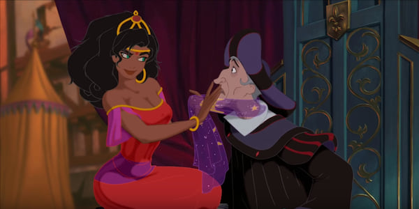 Esmeralda and Claude Frollo from Disney's The Hunchback of Notre Dame sitting closely together as Esmeralda dances., movies