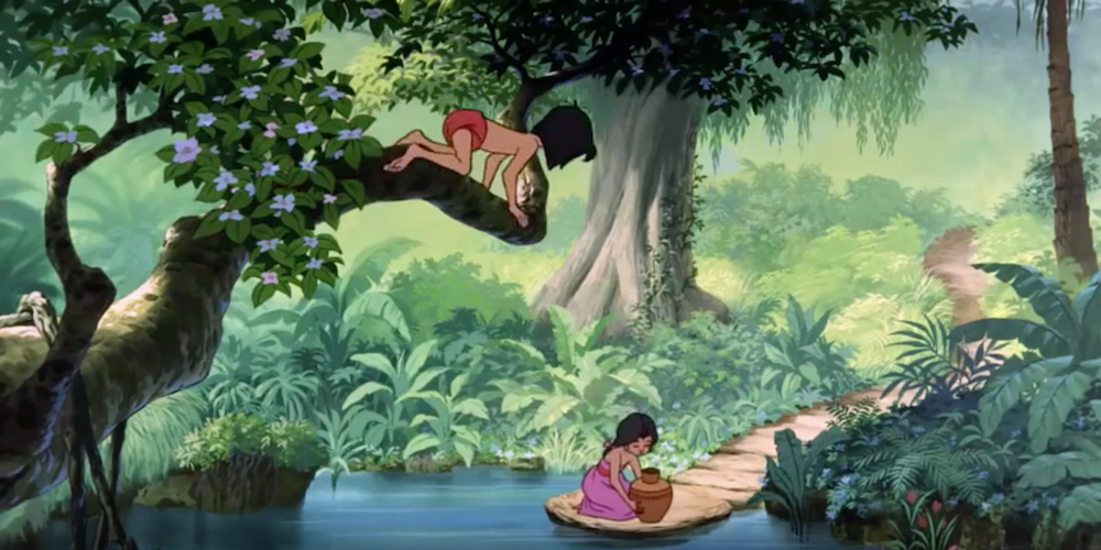 Mowgli from Disney's The Jungle Book looks down at Shanti from a tree to watch her fetch water., movies