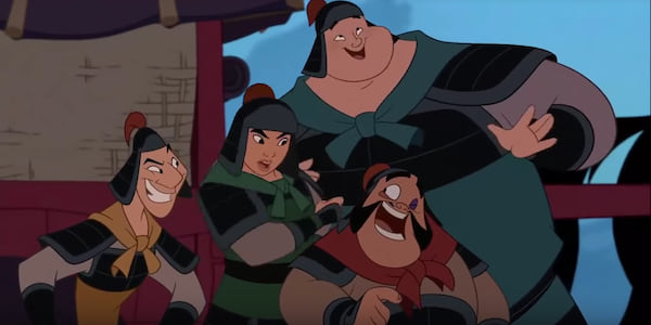 Mulan and the boys from Disney's Mulan sing A Girl Worth Fighting For together in their armor., movies