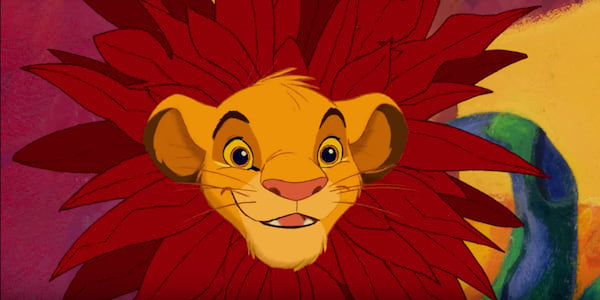 Simba from Disney's The Lion King with his head through a plant pretending it's a lion's mane., movies