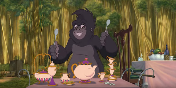 Turk from Disney's Tarzan playing the camp tea set like drums in Trashin' The Camp., movies