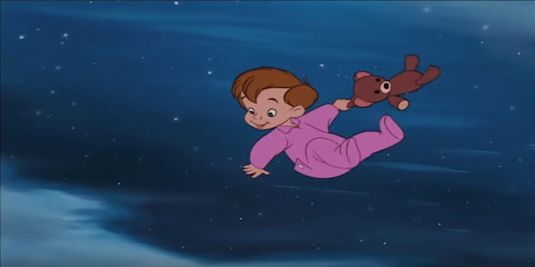 Michael from Disney's Peter Pan flying in the air with his teddy bear in pajamas., movies