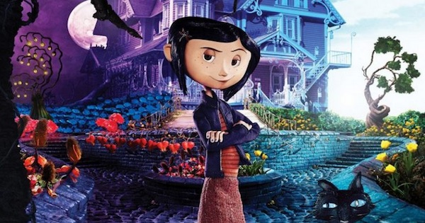 Coraline animated film cover girl and cat o