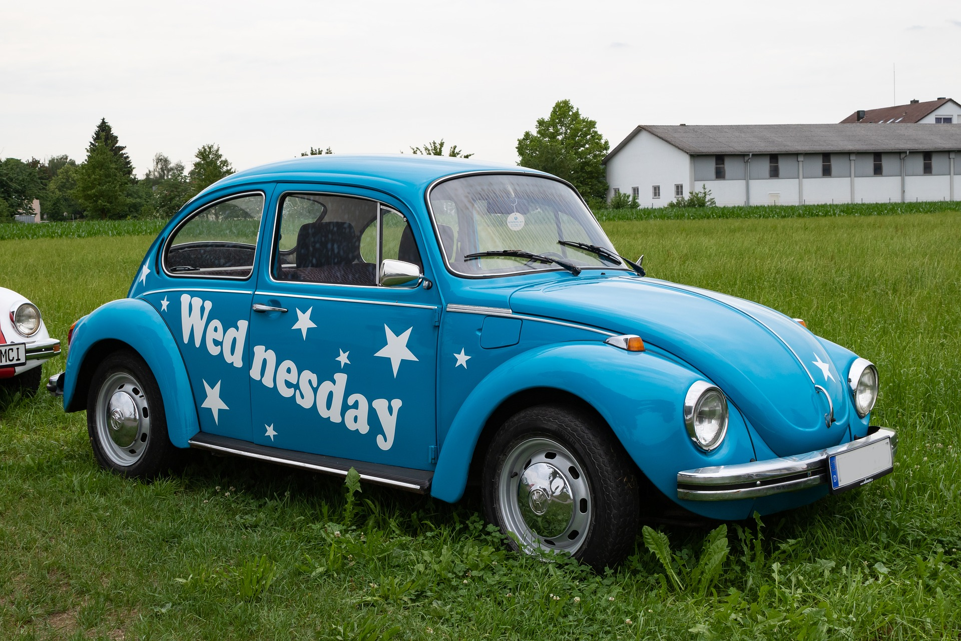 A VW but with the word \Wednesday\ written on it, wednesday instagram captions