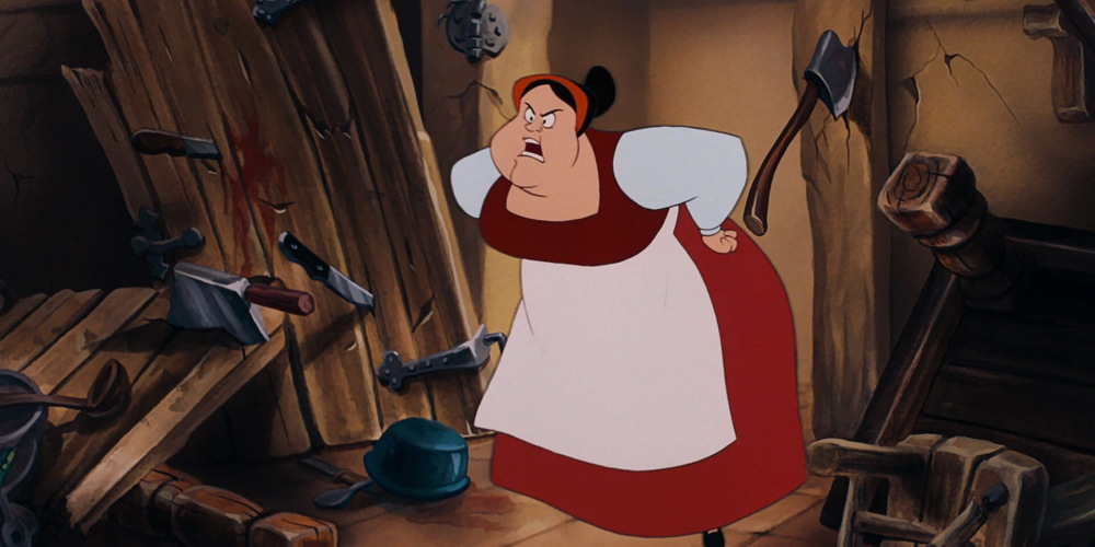 Carlotta from Disney's The Little Mermaid yelling into a cluttered room