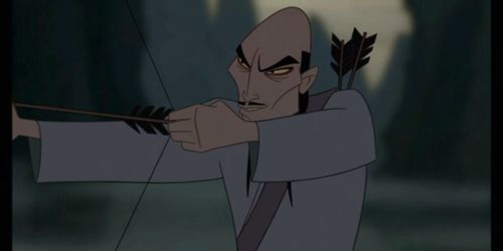 A Hun Soldier from Disney's Mulan readies an arrow to fire, movies