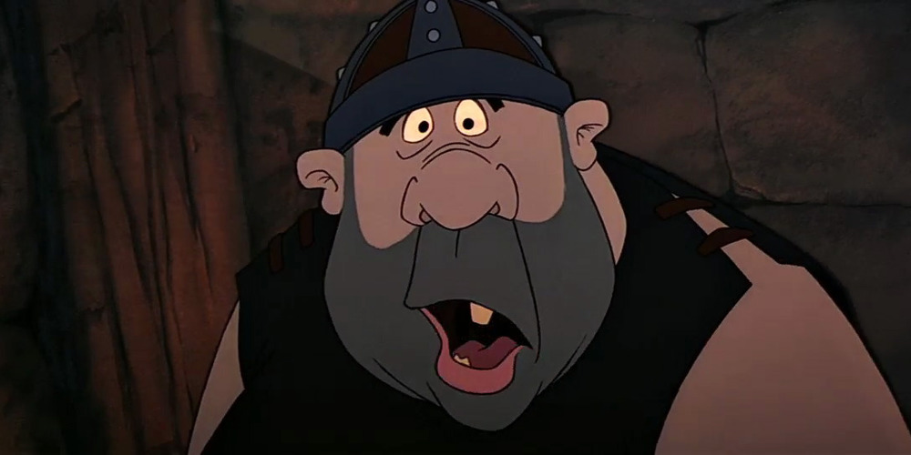 Moose from Disney's The Black Cauldron glares with mouth agape., movies