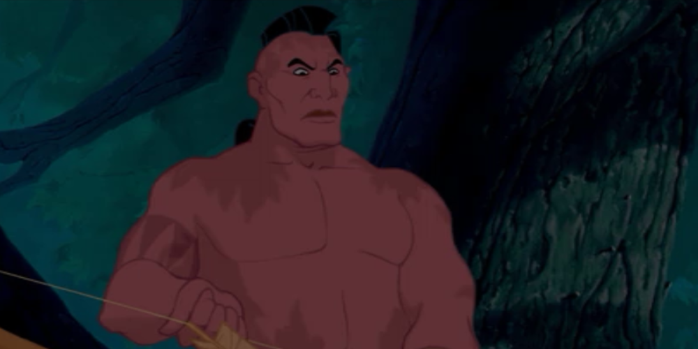 Namontack from Disney's Pocahontas knocks an arrow whilst hidden among some trees, movies