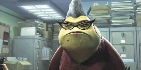 movies, Roz from Pixar's Monsters Inc. stares blankly in her office